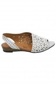 Sandale dama decupate albe din piele naturala
