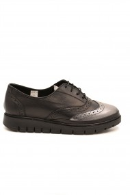 Pantofi dama Oxford negru-bronz din piele naturala