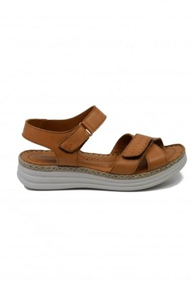 Sandale dama comode din piele naturala de culoare taba