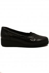 Pantofi dama casual negri din piele naturala lacuita