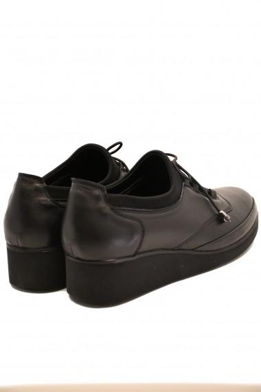 Pantofi comozi dama cu siret  negri  din piele naturala