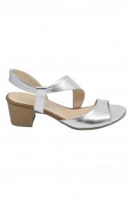 Sandale Vera argintii din piele naturala