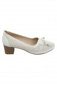 Pantofi dama crem perforati  din piele naturala