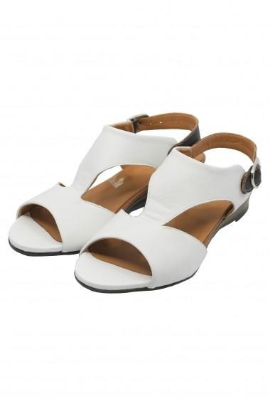 Sandale dama casual albe din piele naturala