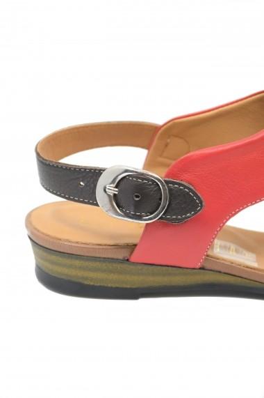 Sandale dama casual rosii din piele naturala