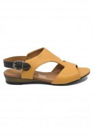 Sandale dama casual mustar din piele naturala
