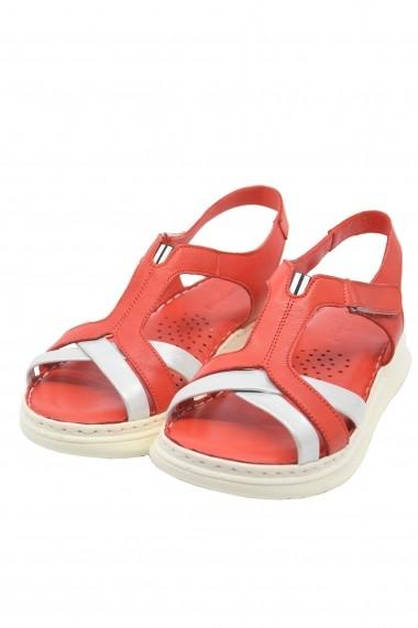 Sandale dama trendy rosii din piele naturala
