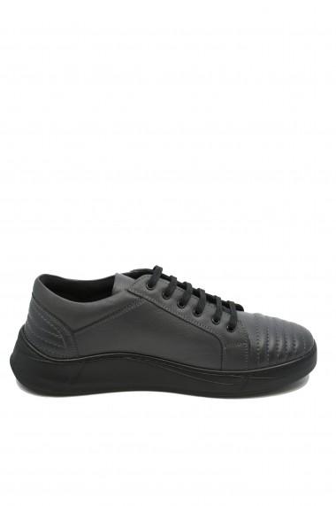 Pantofi barbati casual gri din piele naturala