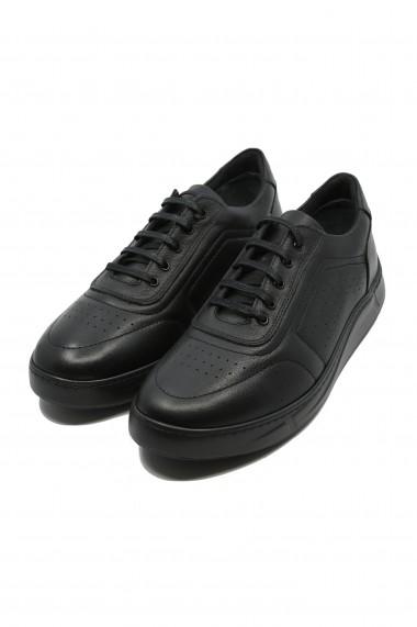 Pantofi barbati negri stil sport din piele naturala