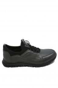 Pantofi barbati gri urban casual din piele naturala