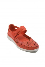 Pantofi dama rosu corai cu bareta din piele naturala