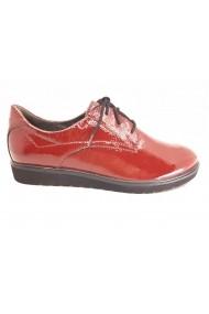 Pantofi dama casual din piele naturala lucioasa  culoare rosu ciresiu