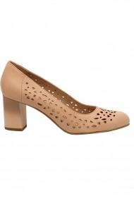 Pantofi cu toc dama rose perforati din piele naturala
