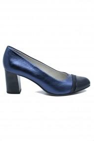 Pantofi dama office navy metallic  din piele naturala