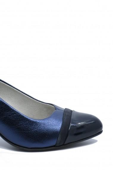 Pantofi cu toc dama office navy metallic din piele naturala