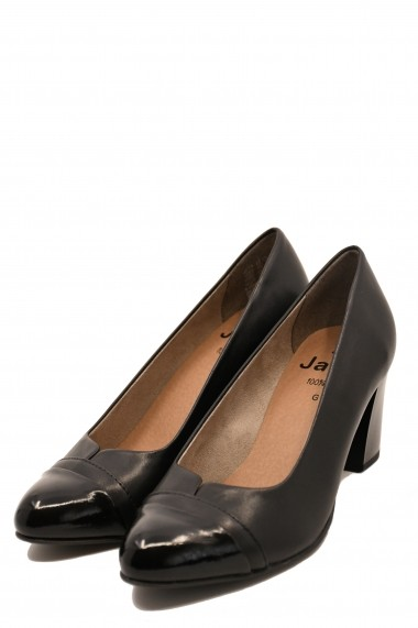 Pantofi cu toc dama office negri din piele naturala