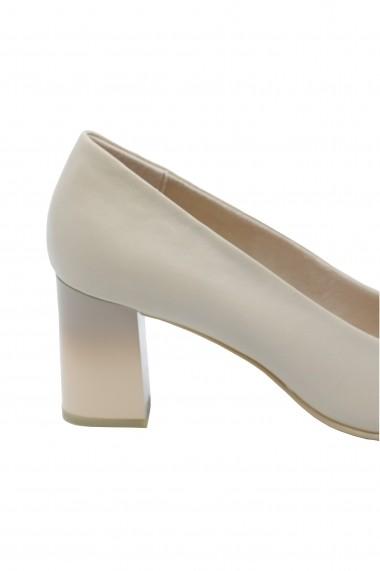 Pantofi cu toc dama office nude din piele naturala