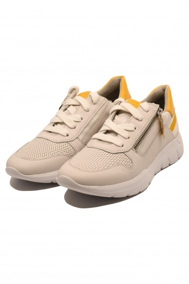 Pantofi sport dama albi din piele naturala