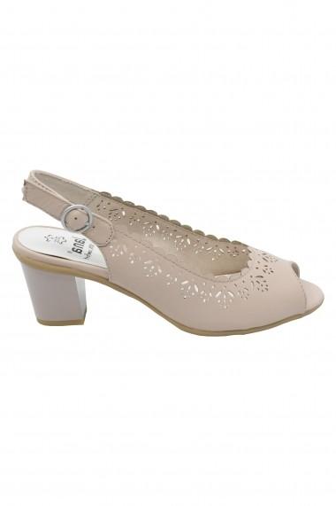 Sandale dama rose decupate din piele naturala