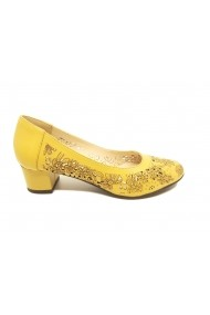 Pantofi dama galbeni perforati din piele naturala