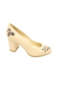 Pantofi dama bej din piele naturala