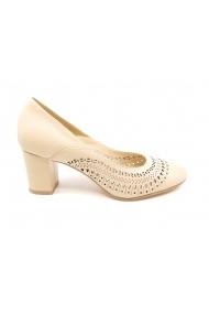 Pantofi sport casual dama bej din piele naturala cu perforatii geometrice