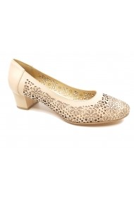 Pantofi dama bej perforati din piele naturala