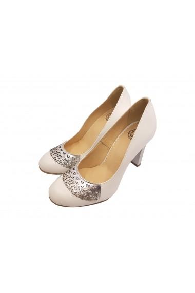 Pantofi eleganti albi din piele naturala