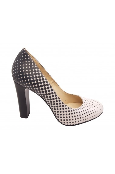Pantofi eleganti din piele naturala albi cu buline negre