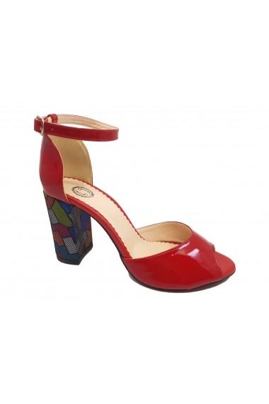Sandale elegante rosii din lac cu toc multicolor