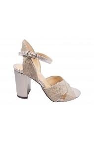 Sandale elegante argintii cu imprimeu sarpe