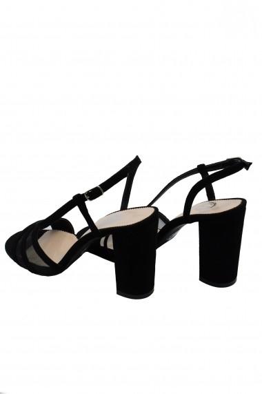 Sandale dama elegante negre din piele intoarsa