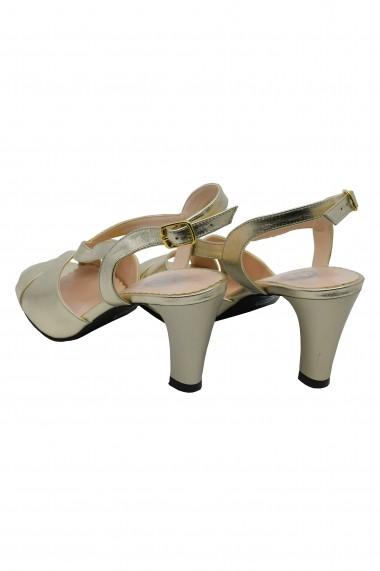 Sandale dama aurii din piele naturala