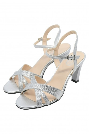 Sandale dama argintii din piele naturala