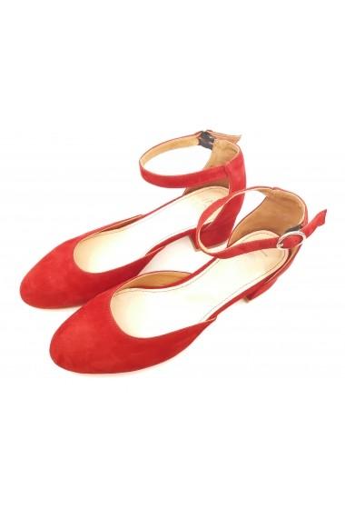 Pantofi dama decupati rosii din piele intoarsa