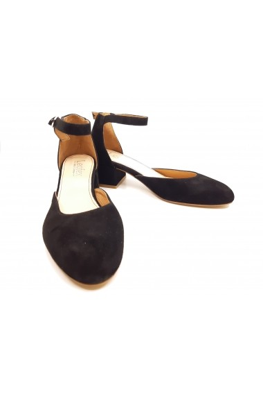 Pantofi dama decupati negri din piele intoarsa