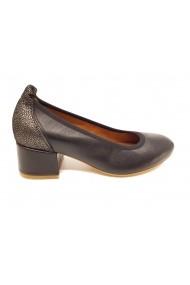 Pantofi sport casual dama negru cu argintiu din piele naturala