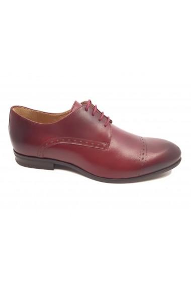 Pantofi eleganti visiniu box din piele naturala