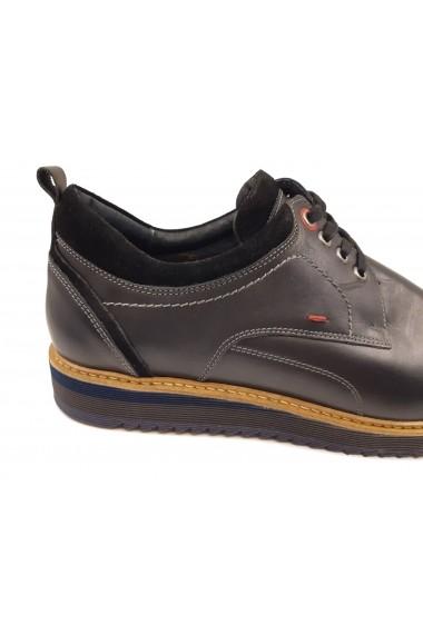 Pantofi casual barbati negru box din piele naturala