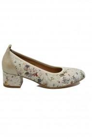 Pantofi dama bej cu imprimeu floral  din piele naturala