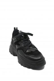 Pantofi sport dama din piele naturala antracit + negru