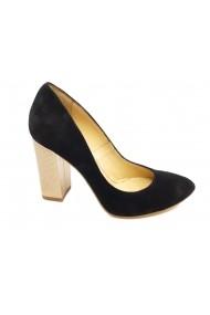 Pantofi negri din piele intoarsa  cu toc auriu