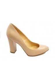 Pantofi dama nude din piele naturala  cu toc inalt