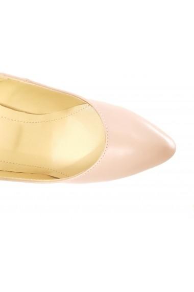 Pantofi dama roz din piele naturala  cu toc inalt