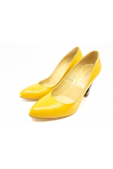 Pantofi dama mustar din piele naturala  cu toc inalt