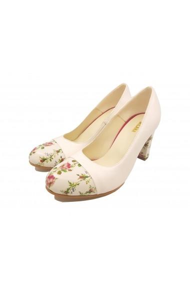 Pantofi cu toc dama office din piele naturala crem cu detalii florale