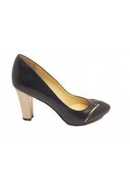 Pantofi eleganti negri cu auriu din piele naturala