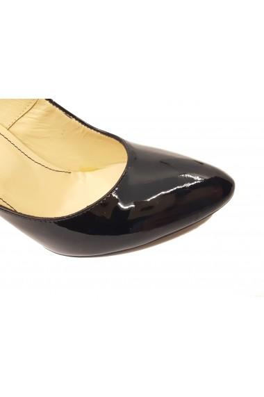 Pantofi stiletto negri din lac