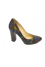Pantofi eleganti negri cu model degrade 5 culori
