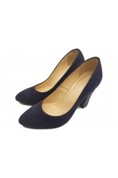 Pantofi eleganti bleumarin cu toc mozaic din piele intoarsa
